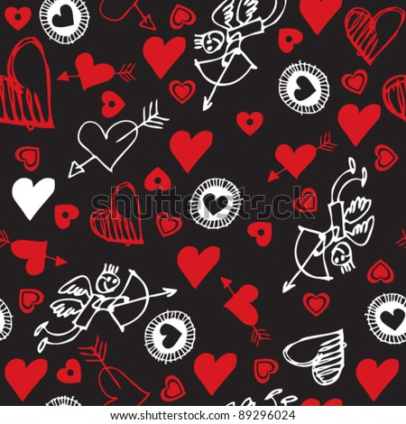seamless love pattern, doodle hearts - stock vector