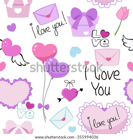 Seamless love romantic valentine hearts  background pattern with lovers text in vector. - stock vector