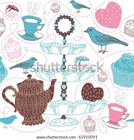 seamless love tea background - stock vector