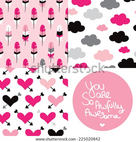 Seamless love valentine patterns and hand lettering quote text for postcard cover design in vector - stock vector