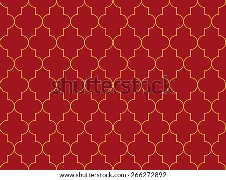 Seamless luxury red and gold moroccan pattern vector - stock vector