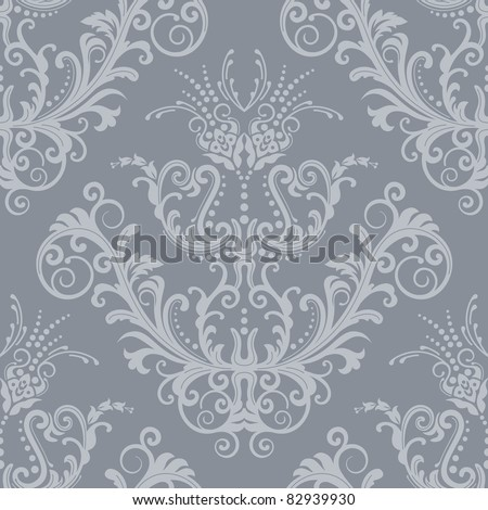 Seamless luxury silver floral vintage gothic wallpaper - stock vector