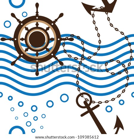 Seamless marine, anchor, marine rudder, wave, vector illustration