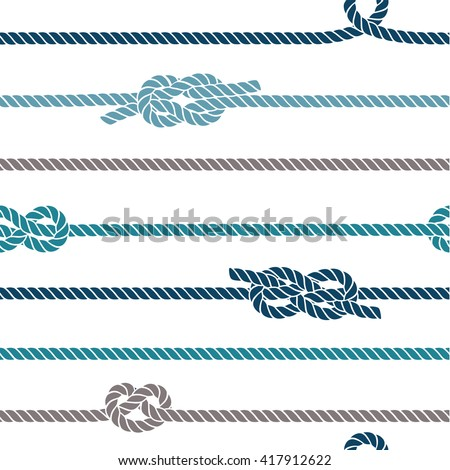 Seamless marine pattern, knots and rope