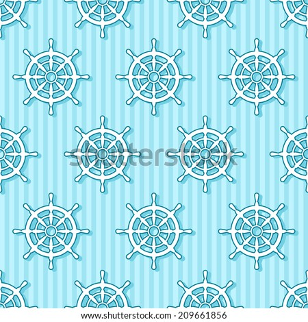 Seamless marine pattern with rudder on blue striped background - stock vector