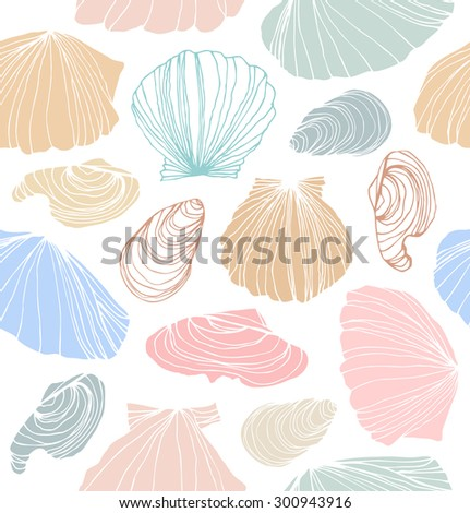 Seamless marine pattern with shells. Bright graphic background with seashells - stock vector