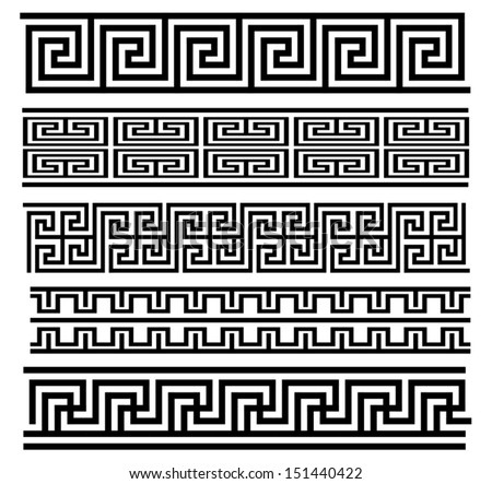 Seamless Meander Patterns - stock vector