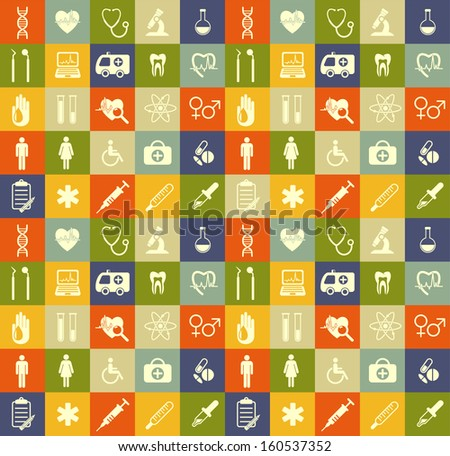 Seamless medical background - stock vector