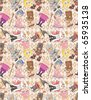 seamless medieval people pattern - stock vector