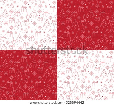 Seamless Merry Christmas Pattern of Line Drawings with Xmas Elements. Continuous Vector Illustration  - stock vector