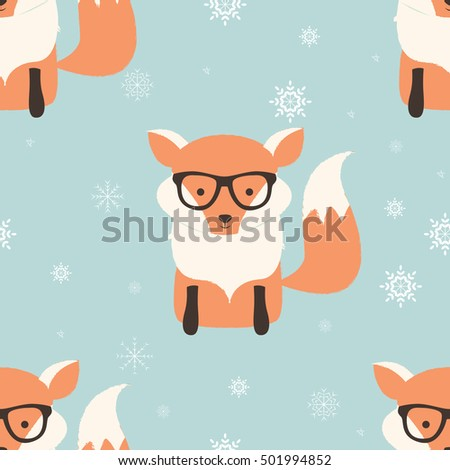 Seamless Merry Christmas patterns with cute hipster fox, vector illustration