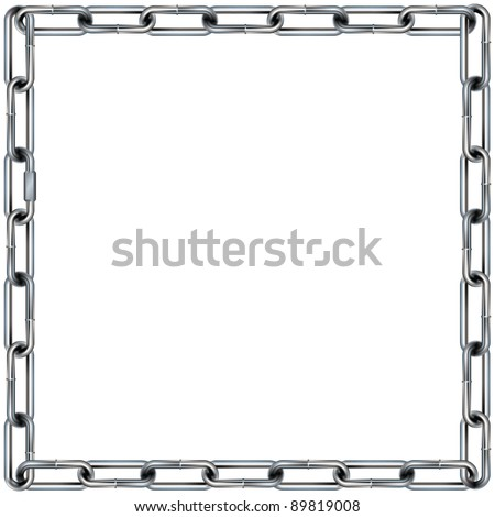 Seamless metal chain link border, background, or pattern with square corners  - vector - stock vector