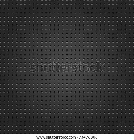 Seamless metal surface texture dotted perforated black background. See more vector illustrations metal textures in my gallery - stock vector