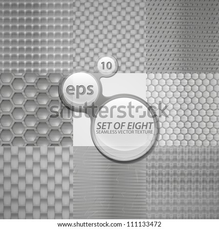 Seamless metal texture eps10 vector pattern, set of eight different surfaces - stock vector