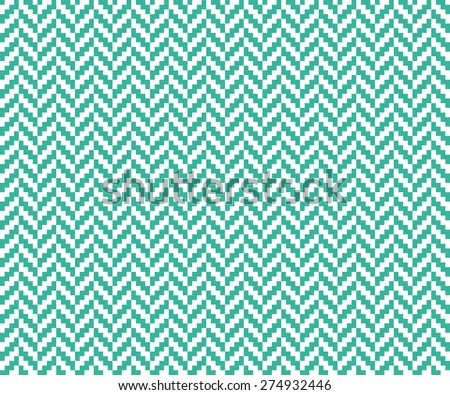 Seamless mint and white vintage pixel herringbone pattern vector - stock vector