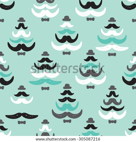Seamless mint holiday mustache hipster funky christmas tree illustration background pattern in vector - stock vector
