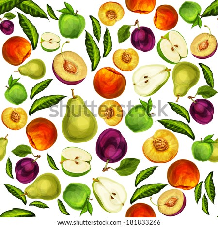 Seamless mixed ripe juicy sliced fruits pattern background with apple plum peach and pear hand drawn sketch vector illustration - stock vector
