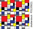 Seamless Mondrian Pattern - stock vector
