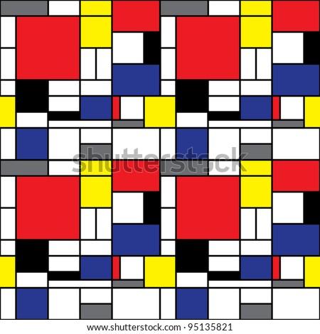 Seamless Mondrian Pattern - stock vector