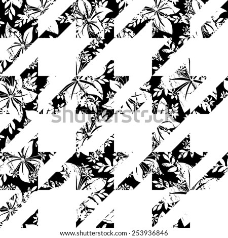Seamless Monochrome Houndstooth Vector Pattern in Floral Style. Black and White Houndstooth Shapes  - stock vector