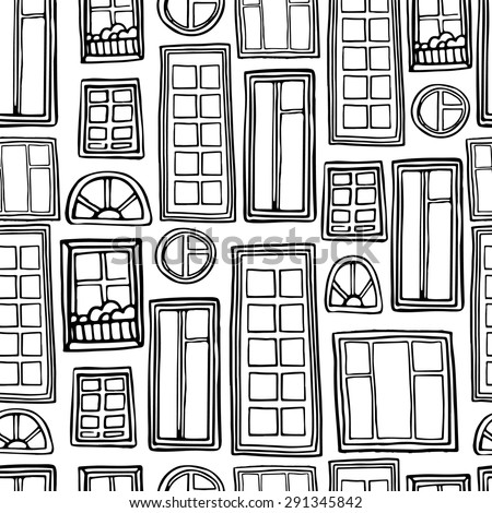 Seamless monochrome pattern of a variety of windows. Vector. - stock vector