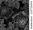 seamless monochrome pattern of black and white roses - stock vector