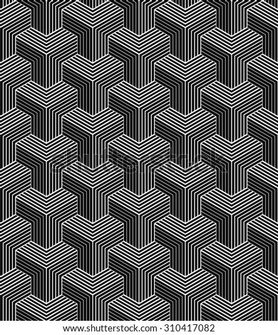 seamless monochrome pattern of striped isometric blocks.
