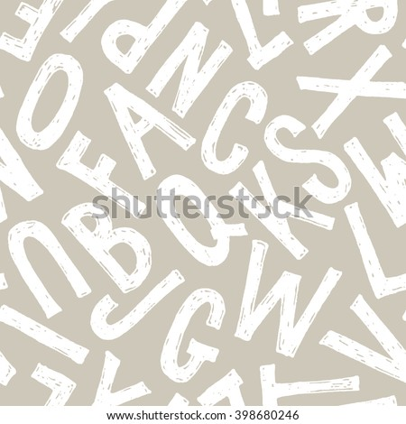 Seamless monochrome typography pattern. Hand drawn vector alphabet backdrop. White letters on light beige background. - stock vector