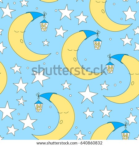 Cute Baby Half Moon Pattern Vector Stock Vector 597302303 ...