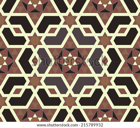 Seamless mosaic pattern based on polygons. Editable vector file