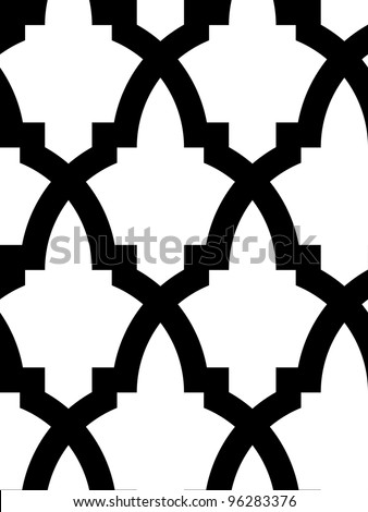 Seamless mosaic pattern in arab style, black and white. - stock vector