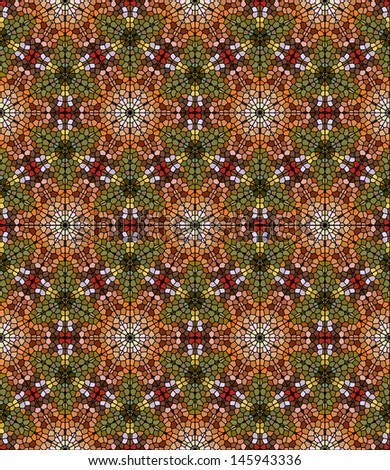 Seamless mosaic pattern in autumn foliage colors