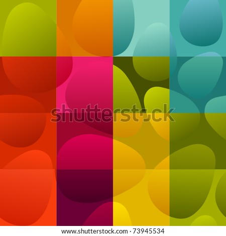 seamless multicolor easter eggs on checked background - stock vector