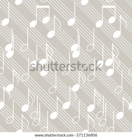 Seamless music pattern with diagonal staff and notes. Elegant print of various musical symbols. Beige and white colors. Vector illustration - stock vector