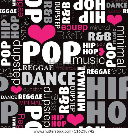 Seamless music style and types background pattern in vector - stock vector