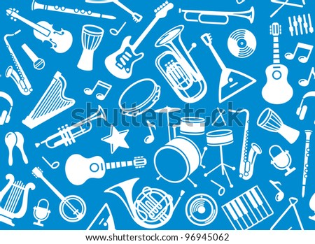 Seamless musical background - stock vector