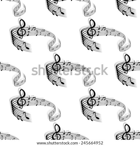 Seamless musical background with abstract repeated motif of curved stave, treble clef and notes for page fill and art design - stock vector