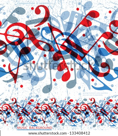 Seamless musical notes pattern, vector background. - stock vector