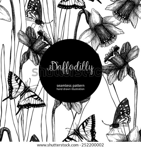 Seamless narcissus pattern. Spring vintage background with hand drawn black narcissus and butterflies - stock vector