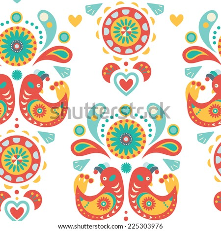 Seamless Natural and floral background, colorful ornament with birds - stock vector
