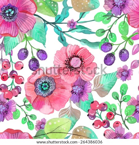 Seamless natural background with pink flowers and berries, plant illustration, VECTOR - stock vector