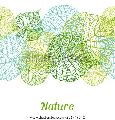 Seamless nature pattern with stylized green leaves. - stock vector