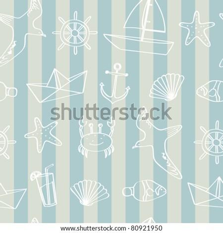 Seamless nautical background - stock vector