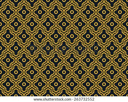 Seamless neon orange enhanced moroccan pattern vector - stock vector