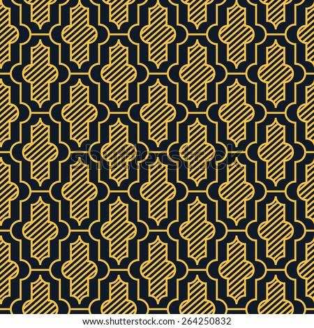 Seamless neon orange vintage moroccan pattern vector - stock vector