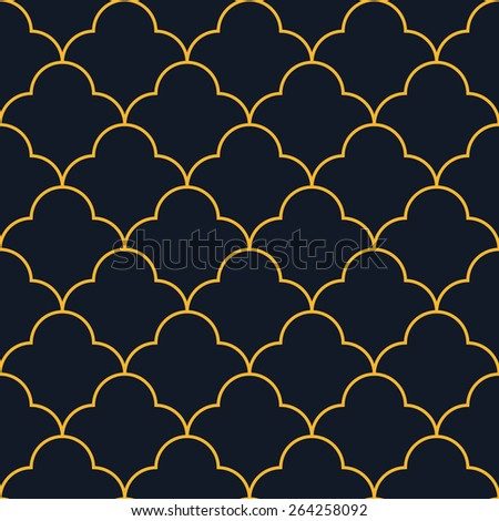 Seamless neon orange vintage round based pattern vector - stock vector