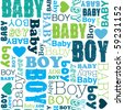 Seamless new born baby boy pattern in vector - stock vector