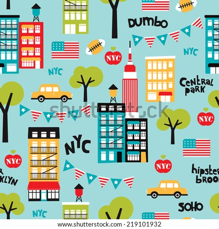 Seamless new york city travel icon souvenir illustration usa background pattern in vector - stock vector