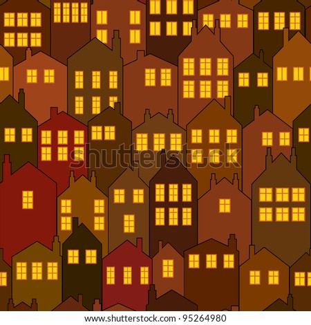 seamless night city house pattern - stock vector