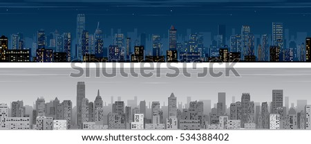 Seamless Night City. Wide Skyline Pattern Vector